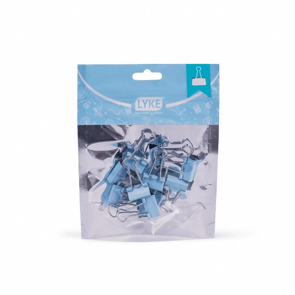 Binder clips 19mm Azul Pastel 12 pcs - Ziper Bag