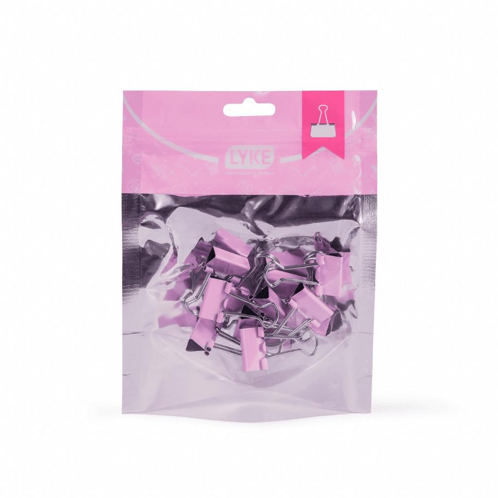 Binder clips 19mm Rosa Pastel 12 pcs - Ziper Bag