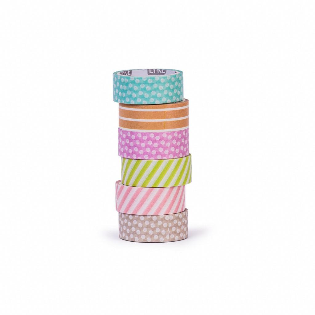 Fita Adesiva - Washi Tape Bls 6 unds (3mx15mm) - Poa