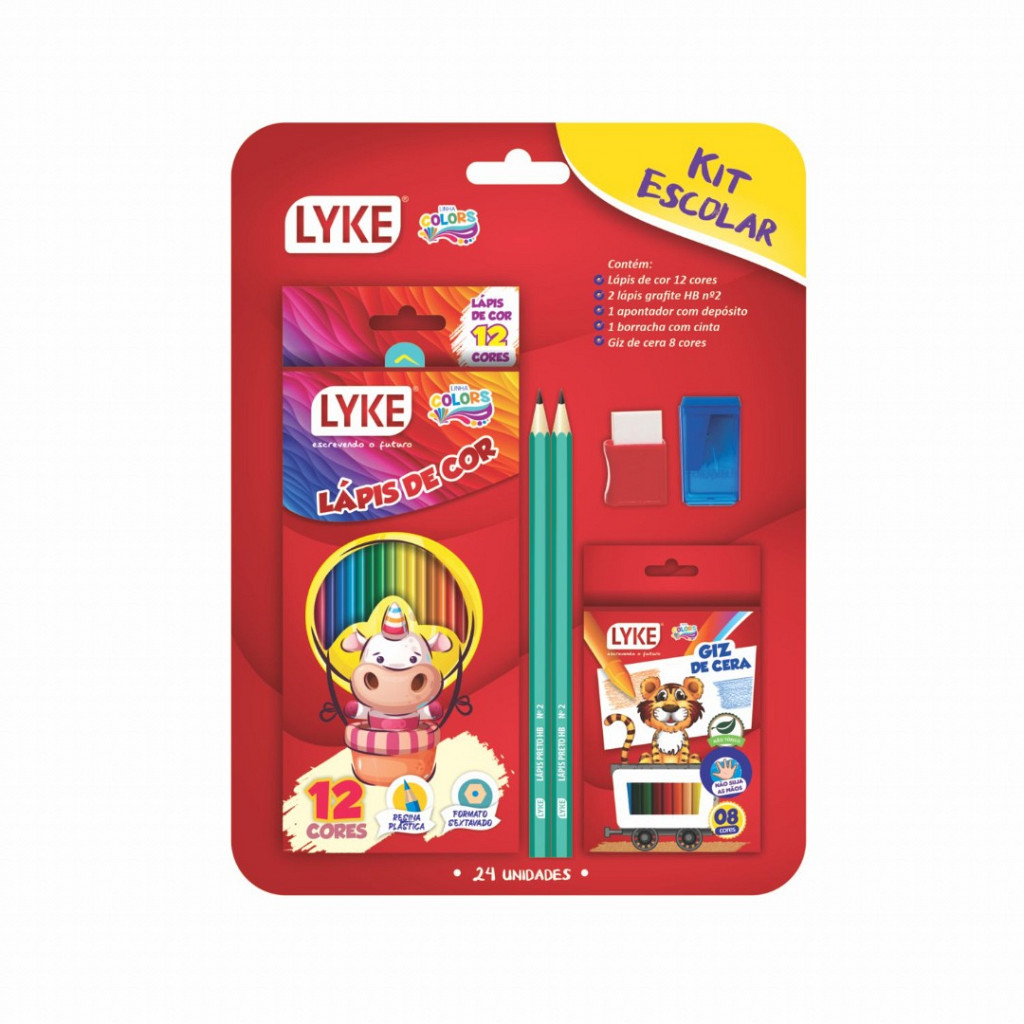 Kit escolar- Lápis 12 + Apont + borracha + 2lp Grafite + Giz 8
