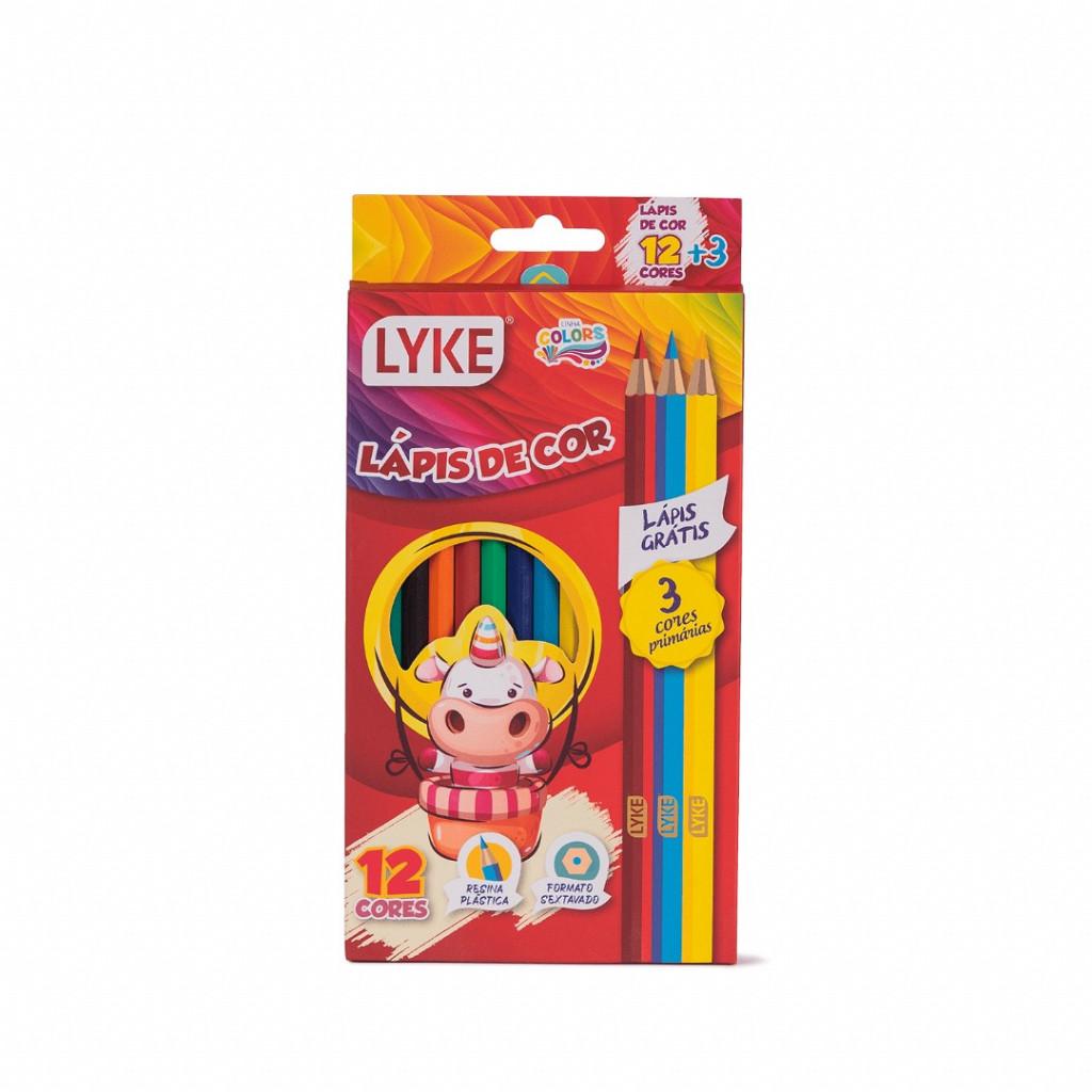 Kit Escolar - Lápis 12 cores + 3 cores - Resina Plástica