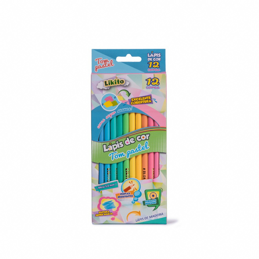 Lápis 12 cores Pastel - Madeira