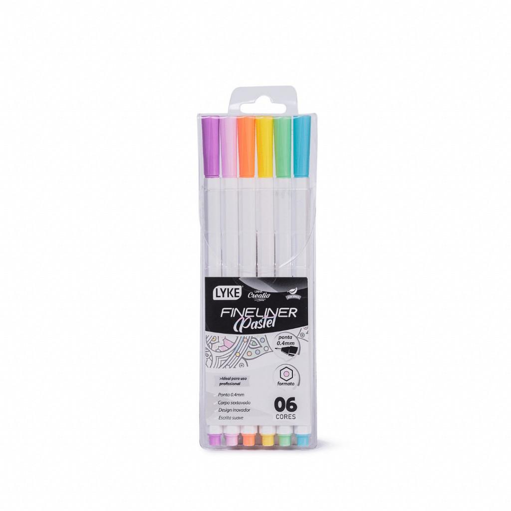 Marcador Fine Line 0.4mm - 6 cores Pastel