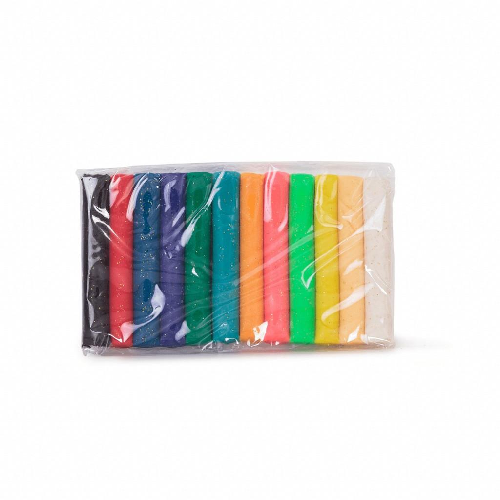 Massa de Modelar 12 cores com glitter - 160 gramas