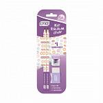 Kit Escolar Roxo Pastel - 2 Lapis Grafite / 1 Apont / 1 Borracha